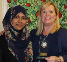 Rehana Begum and Tonia Flannagan showing her 2014 award